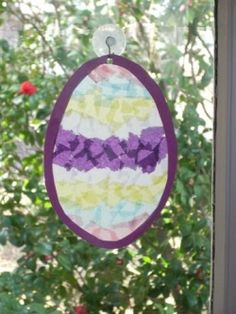 Stained Glass Craft Sun Catcher Easter - for the little ones, just use contact paper!