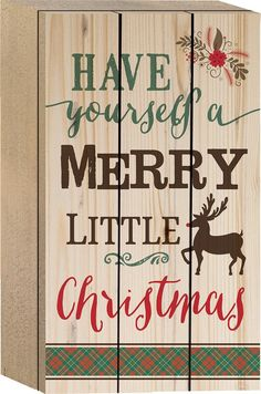 """Tabletop sign, perfect for your Christmas holiday celebrations - measures 4.5"""" x 8"""" - box-style sign - canvas made from lath-thin, narrow strips of wood"""