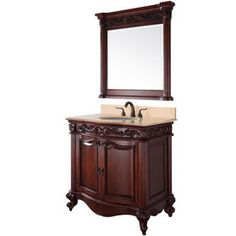 Wyndham Collection�37-in x 21-1/2-in Cherry Integral Single Sink Bathroom Vanity with Natural Marble Top