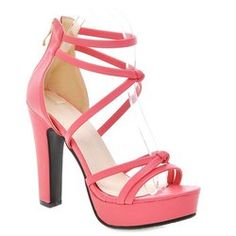 Trendy Platform and Zip Design Sandals For Women - Watermelon Red 35 Zip Party Cheap Sandals, Women's Sandals, Cheap Womens Shoes, Shoes Women, Gladiator Heels, Platform High Heels, Sandals Platform, Summer Dresses For Women, Chunky Heels