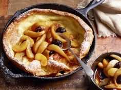 My favorite recipe. Sometimes I skip the compote and sauté cinnamon sugar apples in the butter while I blend the rest of the ingredients. Souffle Pancake With Apple-Pear Compote Recipe : Food Network Kitchens : Food Network - FoodNetwork.com