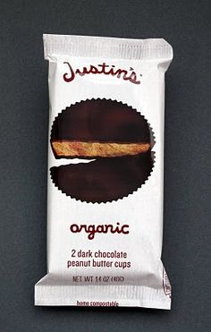 Justin's Organic Dark Chocolate Peanut Butter Cups Packaging.