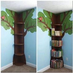 Tree Bookshelf This is simple enough. then could add fake leaves flowers fairy lights etc The post Tree Bookshelf This is simple enough. then could add fake leaves flowers fairy lights etc appeared first on Children's Room. Flower Fairy Lights, Tree Bookshelf, Bookshelf Ideas, Tree Shelf, Kids Book Shelves, Bedroom Bookshelf, Bookshelf Design, Ideas For Bookshelves, Book Storage Kids