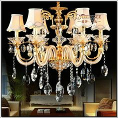 Find More Chandeliers Information about European Golden Crystal Chandelier with…