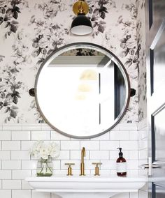 Love the round mirror lighting choice and wallpaper. All perfect!! -for the condo