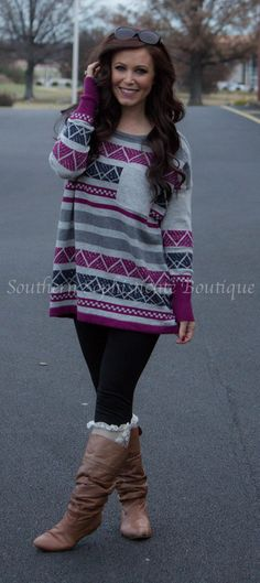 Navy Oversized Aztec Sweater / Southern Sophisticate Boutique