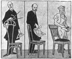 Deutscher Werkbund. Caricatura de Karl Arnold sobre la polémica del congreso del Werkbund de 1914: Van de Velde propone la silla individual, Muthesius propone la silla tipo, y el carpintero hace la silla para sentarse.