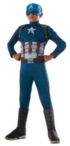 The Boys' Captain America: Civil War Deluxe Captain America Costume is an easy-to-wear jumpsuit with mask for a complete look. The Captain America from the recent Civil War movie will be a hit with kids and adults at Halloween. Boy Costumes, Super Hero Costumes, Halloween Costumes For Kids, Villain Costumes, Halloween Cosplay, Costume Ideas, Halloween Party, America Muscle, Civil War Movies