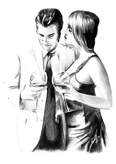 Pencil drawing of a couple in discussion and drinking wine. Hand-drawn pencil drawing with an ivory black drawing pencil. Print is a copy of the original drawing.