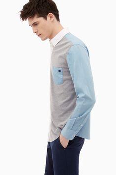 Camisa de algodón con aspecto polo   Adolfo Dominguez shop online