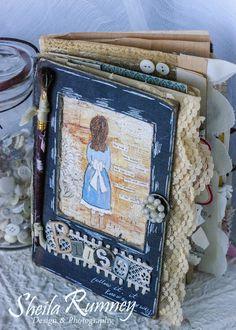 Follow Your Bliss Journal - Part 1 Vintage Inspired Art Journal, Mini Album www.sheilarumney.com