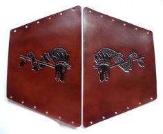 Handcarved leather, armguards, Draco -the Dacian wolf, tooled leather, hand painted