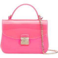 Furla mini Candy Sugar crossbody bag (480 BRL) ❤ liked on Polyvore featuring bags, handbags, shoulder bags, pink crossbody, mini shoulder bag, pink crossbody purse, pink cross body purse and mini handbags