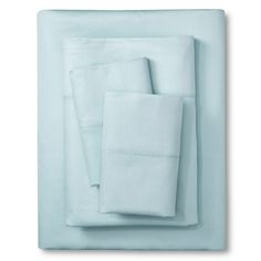 Elite Home Hemstitch 400TC Solid Sheet Set - Light Blue (King), Lite Blue