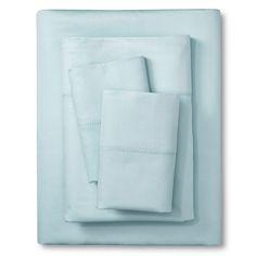 Elite Home Hemstitch 400TC Solid Sheet Set - Light Blue (Full), Lite Blue