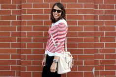 Red Striped Wednesday | Style On Target | white bucket bag, black jeans, stripe top, Parisian Paris style, budget style