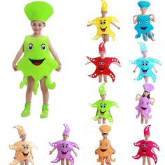 Cartoon Starfish Octopus Children Kids Halloween Kigurumi Costume
