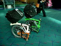 Isn't it cool that you can leave the bag attached after you fold the Brompton Bike?