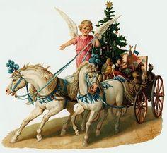 Vintage Victorian Christmas Postcard Printed onto Fabric Victorian Horses Angel | eBay