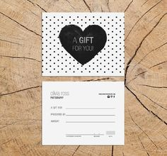 black heart double sided gift certificate by deideigraphic on Etsy