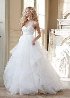 Neu A-line Weiß Elfenbein Mehrschichtorganza Hochzeitskleid Brautkleid Gr.34-50