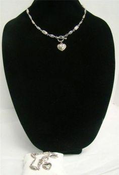 Premier Designs Everlasting Necklace and Bracelet Set Two Tone Heart Toggle | eBay