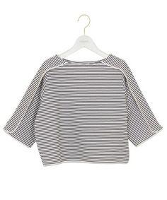 emmi atelier(エミアトリエ)のパイピングトップス(Tシャツ/カットソー)|ホワイト×ブラック