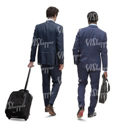two cut out businessmen travelling