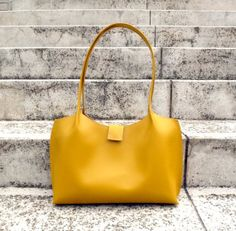 Zippered yellow leather tote bag leather shopping bag by BogaBag, $95.00