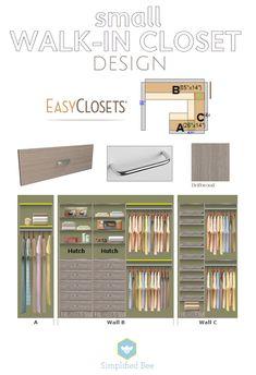 small walk-in closet design // EasyClosets // Simplified Bee design de closet pequeno // EasyClosets // Abelha simplificada Walk In Closet Small, Walk In Closet Design, Small Closets, Dream Closets, Closet Designs, Wardrobe Design, Organizar Closets, Ideas De Closets, Master Bedroom Closet