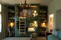 What an awesome little boys' bedroom! Those framed bunk beds are fabulous. Masculine chic.