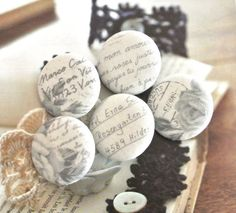 Fabric Buttons Fridge Magnets Words Buttons Covered by RetroNaNa, $6.80 Covered Buttons, Script, Magnets, Words, Fabric, Frames, Tejido, Script Typeface, Tela