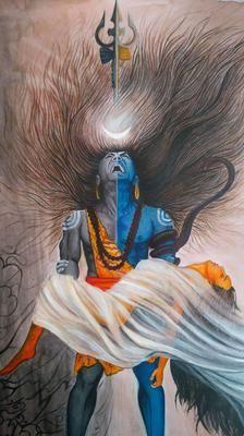 Har Har Mahadev: it's my imagination. Shiva Tandav, Shiva Art, Baby Girl Wallpaper, Lion Wallpaper, Ganesha Painting, Lord Shiva Painting, Indian Gods, Indian Art, Durga Maa Paintings