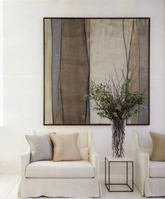 Maak een statement met een groot kunstwerk in huis. Een groot schilderij voegt echt iets toe aan je kamer.