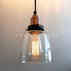 LUCY Glass Pendant Industrial Filament Light Copper Fittings Hanging Canopy NEW | Home & Garden, Lighting, Fans, Chandeliers & Ceiling Fixtures | eBay!