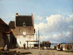 Jan Weissenbruch - De oude haven met de Bottelpoort in Nijmegen, 1850