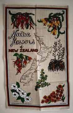 Native Flowers of New Zealand Tea Towel - Vintage Linen NZ Wildflowers - New! Vintage Linen, Retro Vintage, Vintage Items, Australian Sheep Dogs, Funny Comic Strips, Moving Boxes, Frame It, Wildflowers, Tea Towels