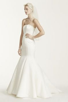 Simple yet elegant, this chic trumpet gown paired with sash style offers a bold and timeless look! Also available Regular, Plus, Extra Length and Plus Size Extra L Tea Length Dresses, Formal Dresses, Wedding Gown Preservation, Trumpet Dress, Bridezilla, Davids Bridal, Bridal Collection, One Shoulder Wedding Dress, Wedding Gowns