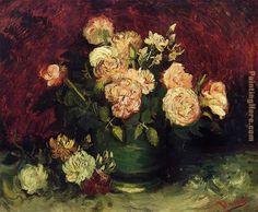 Bowl with Peonies and Roses Painting by Vincent van Gogh