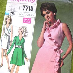 1960s Vintage Pattern  WRAP DRESS with Ruffle  by SelvedgeShop, $24.00