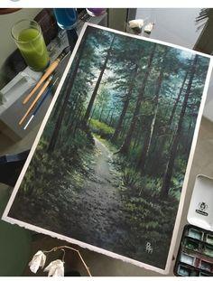 ☽↞↠☾ Watercolor Landscape, Watercolour Painting, Landscape Illustration, Watercolor Flowers, Watercolours, Illustration Art, Gouache, Art Inspo, Tempera