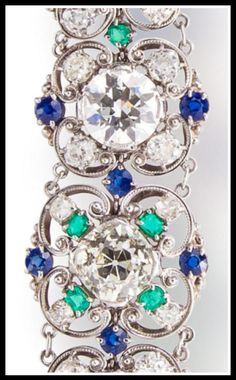 Diamond, sapphire and emerald bracelet by Louis Comfort Tiffany. : Diamonds in the Library