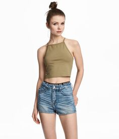 Khaki. Short, fitted camisole top in jersey with narrow shoulder straps.
