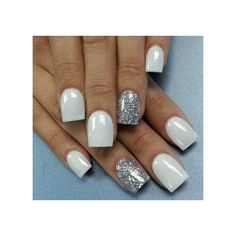 White Nails with silver sparkle Pretty Nails ❤ liked on Polyvore featuring beauty products, nail care, nail treatments and nails