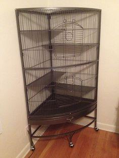 Amazon.com: Prevue Hendryx 490 Pet Products Corner Ferret Cage, Black Hammertone: Pet Supplies