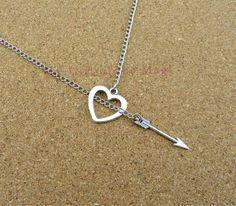 Arrow & Heart Charm Necklace In by TheGiftoftheMagi on Etsy, $2.99