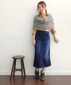 Hmm??  Long denim skirt with ankle boots