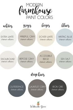 Modern Farmhouse Paint Colors - Within the Grove - - Needing to find a neutral paint color scheme to use throughout your home? Here are the top modern farmhouse colors by Sherwin Williams. Popular Paint Colors, Best Paint Colors, Paint Colours, Best Bedroom Paint Colors, Wall Painting Colors, Colors For Bedrooms, Blue Grey Paint Color, Home Painting Ideas, Fabric Painting