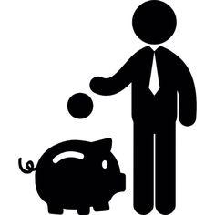 Hombre ahorra dinero en una alcancía hucha Icono Gratis