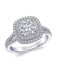 Coast Diamond Engagement Ring in White Gold with Round Stone and Split Shank of Diamonds I Style: LC10130 I https://www.theknot.com/fashion/charisma-collection-lc10130-coast-diamond-engagement-ring?utm_source=pinterest.com&utm_medium=social&utm_content=june2016&utm_campaign=beauty-fashion&utm_simplereach=?sr_share=pinterest